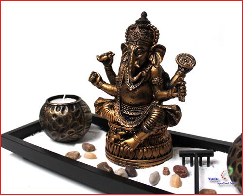 3D Effekt Deko Buddha Teelichthalter Fengshui drei Buddhakopf  Nr:AB-9010