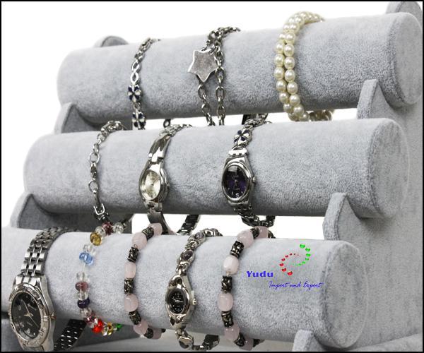 3er Schmuckständer für Uhren Armband Kunstleder weiss